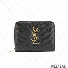 【WEEKEND】 SAINT LAURENT YSL Monogram 皮革 拉鍊 短夾 卡夾 零錢包 黑+金色