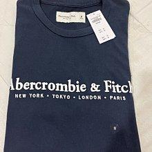 Abercrombie and Fitch A&F 男生深藍短袖tee恤 刺繡字體 M號 全新正品 現貨在台