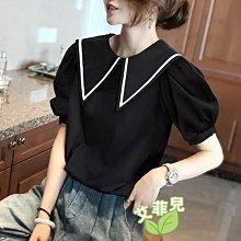 泡泡袖娃娃領襯衫~~艾菲兒=現貨、韓版、預購
