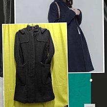 專櫃品牌BALENO 黑色羊毛呢  連帽可拆保暖大衣