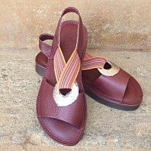 ♀️女:台灣製造-寬版銅環織帶超軟Q氣墊涼鞋(紅/灰綠/藍)、Y字涼爽、文青涼鞋、軟Q手縫涼鞋