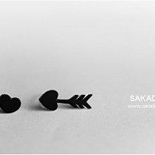 阪堂SAKADO手工耳釘--情人節首選--邱比特之箭 (箭頭+愛心 )