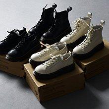 BEFE時尚精品 限量德單 牛皮圓頭 牛筋厚底 荔枝紋低幫短筒馬丁靴