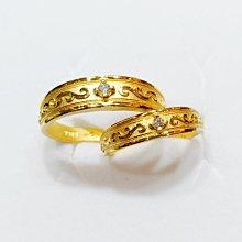台南 長記銀樓 純金金對戒 (水鑽皇冠金戒指)一對金重2.20錢,特價$16600元,男女金對戒 保值黃金對戒 鑽石黃金戒