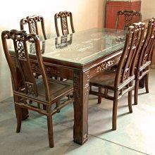 大台南冠均實木家具批發倉庫--自辦進口 全新仿古 雞翅木 餐桌椅組 用餐桌椅 會議桌 1桌+6椅 *原木家具 MB052