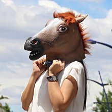 現貨聖誕節馬頭面具 動物頭套馬面具天然環保乳膠面具舞會COS魔鬼節 鬼節馬頭面具化妝舞酒吧惡搞化妝舞派對遊行運動會萬聖節