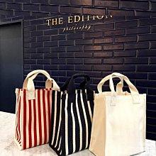 Black Market 實拍日韓風簡約單肩大容量條紋手提防水帆布包(預購7款)