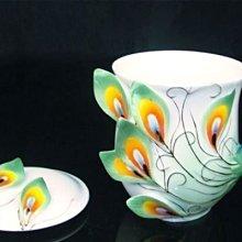 琺瑯瓷12646113829 孔雀杯附蓋-綠 陶瓷高溫燒製手工彩繪 禮品 法蘭 小資