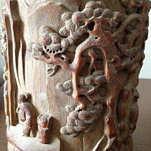 一元起標【藏珍閣】清代老件 收藏最好的老竹雕筆筒 閒茗賞竹玩玉中國古代文房 190x140x125mm重量:369.6克