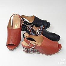 ♀️女:MIT精品真皮手工-ㄧ片式優雅方扣唯美底露趾楔形涼鞋、簡約厚底涼鞋、真皮手工氣墊楔形鞋、露趾魚口楔形涼鞋
