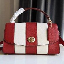COACH 1435 Tilly23 手提包 紅白條紋拼接翻蓋包 單肩斜挎包 時尚女包