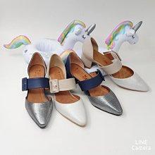 ♀️女:MIT復古魅力小羊皮跳色寬帶瑪莉珍尖頭粗跟鞋(藍/灰)、小羊皮瑪莉珍鞋、粗跟瑪莉珍鞋、復古粗厚跟、寬帶尖頭鞋
