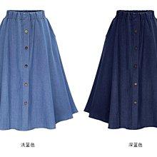 緊腰牛仔裙及膝裙 半身裙短裙 排扣松緊腰歐美街頭風水藍色學生可搭襯衫 雪紡衫MB031A-925.N502A.9138
