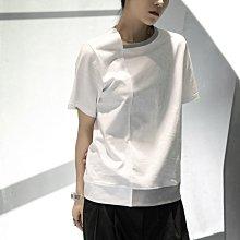 ►DR.DESIGN│DR32617大特價-小眾暗黑 簡約 半圓領 不規則 黑白拼色 寬鬆  休閒短袖T恤