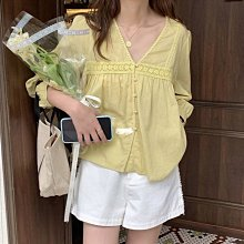 芥黃色☢️V領蕾絲花邊長袖襯衫🎼〰️寬鬆慵懶風休閒上衣🌀現貨芥黃