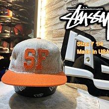 SF x Stussy 麻灰全封布料灰橘棒球帽 Made In The USA
