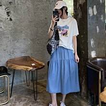 Jomi日韓 夏季愜意舒適薄天絲牛仔拼接寬鬆A字裙* L現貨【JY02-AO5139】