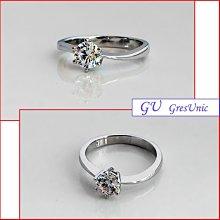 【GU鑽石】A60求婚戒指生日禮物仿鑽鋯石銀戒指對戒指客製化 GresUnic Apromiz 50分六爪經典款 鑽戒