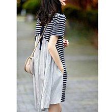 條紋連衣裙女2021夏季新款洋氣時尚小個子不規則收腰顯瘦拼接裙子