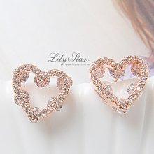 LilyStar.優雅甜心細緻鏤空鋯石耳環 【YS1759】新增銀色