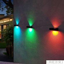 太陽能壁燈 LED燈 太陽能燈 庭院燈 花園燈 戶外燈 圍牆燈 光控感應燈 防水 上下發光 七彩調光【興旺百貨】oawfi6417