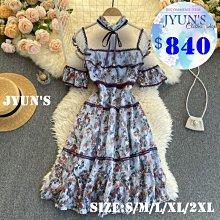 JYUN'S 春夏新款歐美風網紗蕾絲花邊重工刺繡花朵氣質立領荷葉邊大擺連衣裙短袖洋裝連身裙 2色大尺碼S~2XL現貨
