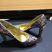 Nine West size 7-1/2     舞台走秀二手 裹層部分脫皮 亮片高跟鞋