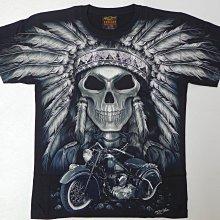 【Mr.17】夜光滿版高畫質刺青紋身 印第安酋長骷髏 老鷹 哈雷重機摩托車無接縫美式滾筒T-shirt短袖(RF040)