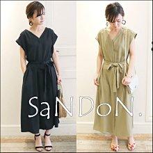 SaNDoN x『SLOBE LENA』大好評につき追加生産 綢緞感手感細膩綁帶法式V領洋裝  180701