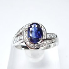 【連漢精品交流中心】《天然藍寶石 0.60CT 》14K金設計款奢華 藍寶石女鑽戒