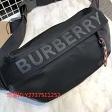 《友友二手店》【BURBERRY】 黑色尼龍 LOGO 腰包 / 背包