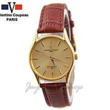 【JAYMIMI傑米】Valentino范倫鐵諾古柏皮帶手腕錶-咖啡皮錶極簡刻度防水錶-特價550
