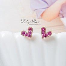 LilyStar.精巧甜美桃鑽小愛心耳環 【IL09115】