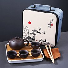 【用心的店】戶外車載便攜收納功夫陶瓷快客杯泡茶器定窯旅行茶具套裝一壺四杯