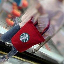 @@@   新款內置水杯位大容量星巴克帆布手提包飯盒包便當包媽咪包兒童補課包 厚帆布袋(大款) 隨行杯環保手提袋便當袋