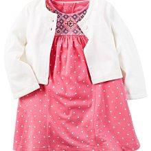 【Carters】卡特 美國正品 可愛點點短袖洋裝(包屁連身洋裝)+白色小外套 兩件組套裝