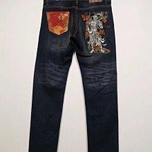 專櫃品牌 BULE WAY 日本藍 牛仔褲 電繡風神款-男款-水洗藍-30腰【JK嚴選】