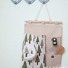 【遇見美好雜貨】A50502 北歐風 森林小樹面紙二格收納棉麻收納掛袋