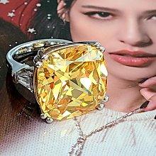 黃彩鑽25克拉正方鑽石戒指顏色濃黃鵝黃高檔豪華珠寶純銀925銀厚鍍鉑金男女適用款戒指 歐美明星同款仿真鑽石特價優惠 莫桑鑽寶