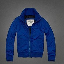 美國Abercrombie & Fitch男裝Lake Placid Jacket M號藍色立領好穿時尚型男必備拉鍊夾克