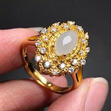 天然A貨翡翠戒指 緬甸玉白翡奢華豪鑲款925銀鍍金鑲鑽鋯石活圍戒指 飾品配件《舒唯水晶》母親節禮物