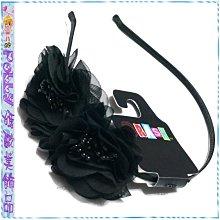 ☆POLLY媽☆歐美BRASH黑色雪紡紗雙花朵包緞金屬髮箍