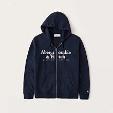 【Abercrombie&Fitch】【A&F】【零碼XS】AF男連帽外套2排白字黑藍 F02210425-09