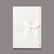 B0034 珠光米白花紋浮雕 蝴蝶結包摺 邀請函