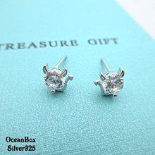 ☆§海洋盒子§☆小惡魔單鑽造型925純銀貼耳耳環 OB8564 (Q) (925純銀外鍍專櫃級正白K)
