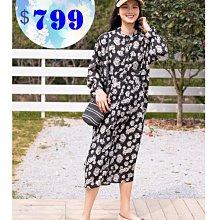 JYUN'S 新品大碼韓版氣質碎花雪紡裙復古連衣裙長裙襯衫裙長袖洋裝連身裙 1色 現貨