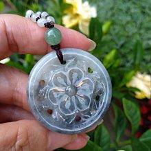 天然緬甸玉A貨 烏雞種水 翡翠雕花41mm 3彩玉項鍊珠3.5mm 珠鍊長約56cm