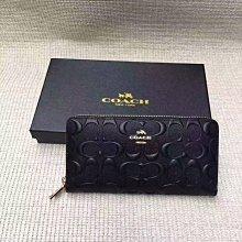 【小怡代購】 全新COACH 53834 美國正品代購新款壓花浮雕款 女士拉鏈長夾 錢包 超低直購
