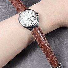 錶帶適用于卡地亞表帶藍氣球真皮原裝鱷魚皮男女款折疊扣手表表帶凸口