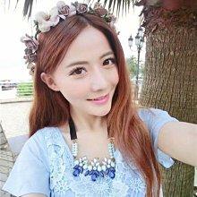 旅游花環新娘裝飾頭箍咖啡色頭飾發飾韓式伴娘頭花結婚配飾發箍女